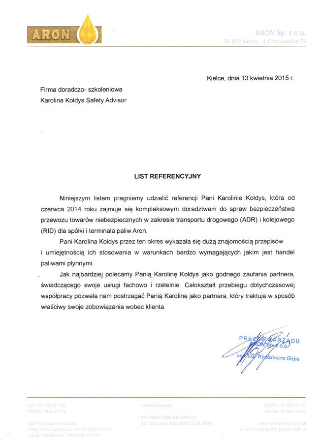 Branża paliwowa - Aron Sp. z o. o.