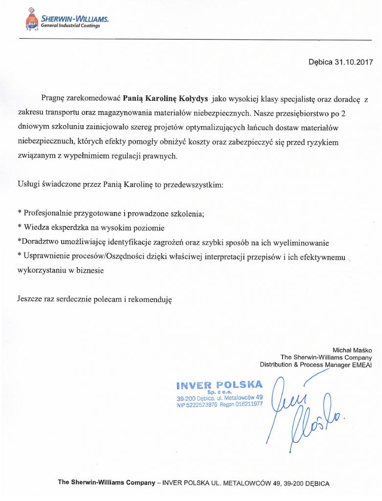 Branża Farb i Lakierów - Sherwin-Williams