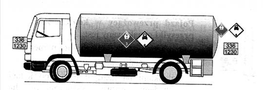 Pojazd przewożący jeden towar niebezpieczny w cysternie - przykład oznakowania (nr 2)