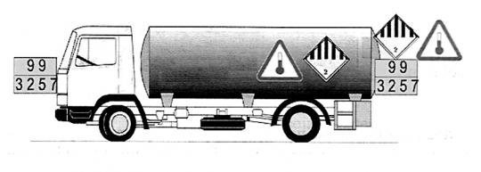 Pojazd przewożący materiał w podwyższonej temperaturze - przykład oznakowania (nr 2)