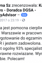 Referencje Facebook - Pani Justyna Szymczyk